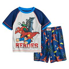 Boys 4-12 Comic Superheros 2 pc Pajama Set