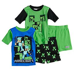 Boys 6-12 Minecraft Creeper 4 pc Pajama Set