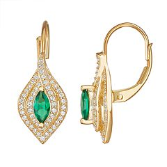 14k Gold Over Silver Lab-Created Emerald Marquise Leverback Earrings