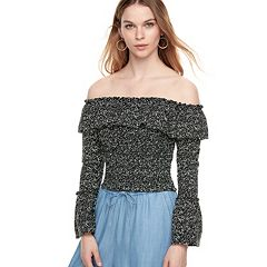 k/lab Ruffle Long Sleeve Bardot Top