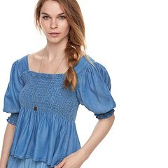 k/lab Squareneck Smocked Top