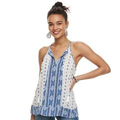 Juniors' Pink Republic Tassel Split Neck Tank