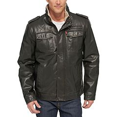 Men's Levi's® Sherpa-Lined Faux-Leather Military Jacket