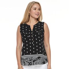 Petite Croft & Barrow® Sleeveless Henley Top