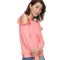 k/lab Ruffled Cold-Shoulder Sweatshirt