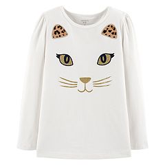 Girls 4-12 Carter's Glittery Cat Graphic Tee