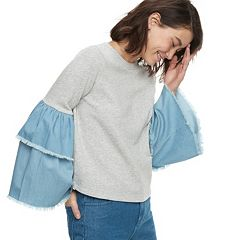 k/lab Contrast Tiered Denim Bell Sleeve Sweatshirt