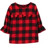 Girls 4-12 Carter's Buffalo Check Ruffled Flannel Top