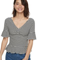 k/lab Ribbed Ruffled Flutter Sleeve Top