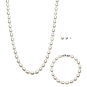 Croft Barrow Simulated Pearl Necklace Stretch Bracelet Earring Set