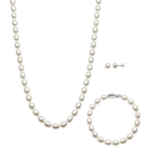 Sterling Silver Freshwater Cultured Pearl Necklace, Bracelet and Earring Set