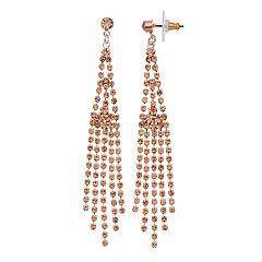 Rose Gold Fringe Nickel-Free Drop Post Earrings