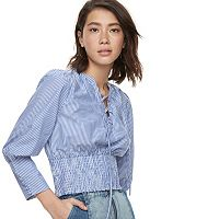 k/lab Lace-Up Striped Smocked Top