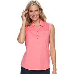 Women's Croft & Barrow® Eyelet Sleeveless Polo Top