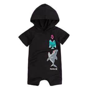 Baby Boy Hurley Shark & Fish Hooded Romper