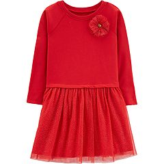 Girls 4-12 Carter's French Terry Glittery Tulle Dress