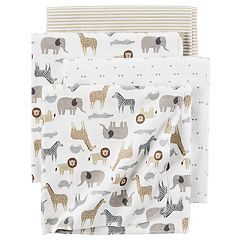 Baby Carter's 4-pack Safari Print Flannel Receiving Blankets