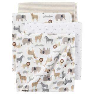 Baby Carter's 4-pack Safari Print Flannel Receiving Blankets