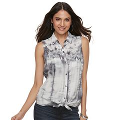 Women's Rock & Republic® Tie-Dye Tie-Front Shirt