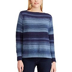 Petite Chaps Striped Linen-Blend Boatneck Sweater