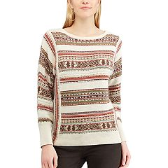 Petite Chaps Striped Linen-Blend Crewneck Sweater