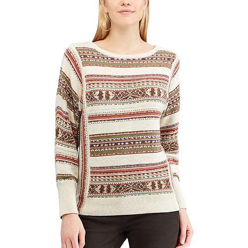 Petite Chaps Striped Linen-Blend Crewneck Sweater