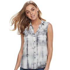 Women's Rock & Republic® Tie-Dye Tie-Back Shirt