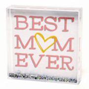 """New View """"Mom"""" Square Glitter Globe Table Decor"""