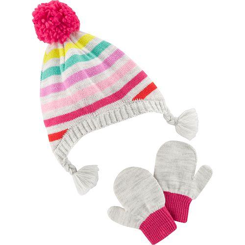 Toddler Girl Carter s Striped Hat   Mittens Set 02c901d4af56