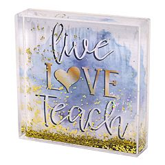 New View 'Teach' Square Glitter Globe Table Decor