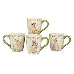 Certified International Bunny Patch 4 pc Coffee Mug Set