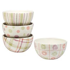 Certified International Bunny Patch 4 pc Ice Cream Bowl Set