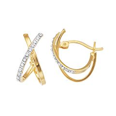 Diamond Mystique 18k Gold Over Silver Diamond Accent X-Hoop Earrings