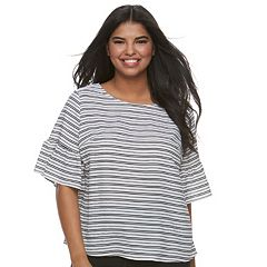Juniors' Plus Size HeartSoul Printed Flounce-Sleeve Top