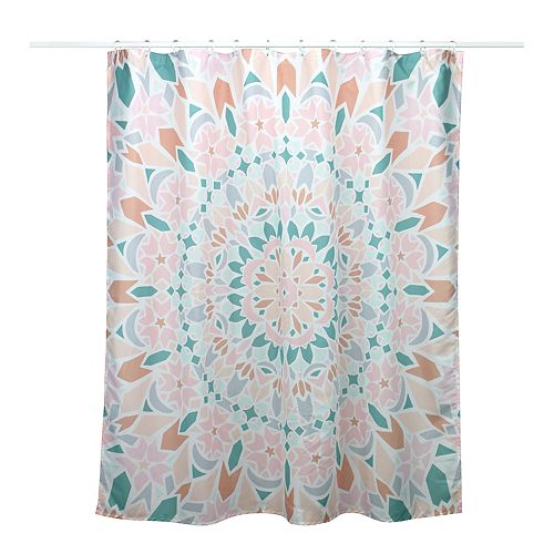 Simple By Design Peach Medallion 13 Piece Shower Curtain Set