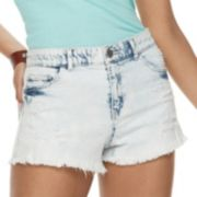 Juniors' Rewind High-Waisted Acid Wash Denim Shortie Shorts
