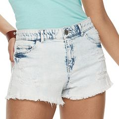 Juniors' Rewind High-Waisted Acid Wash Denim Shortie Shorts