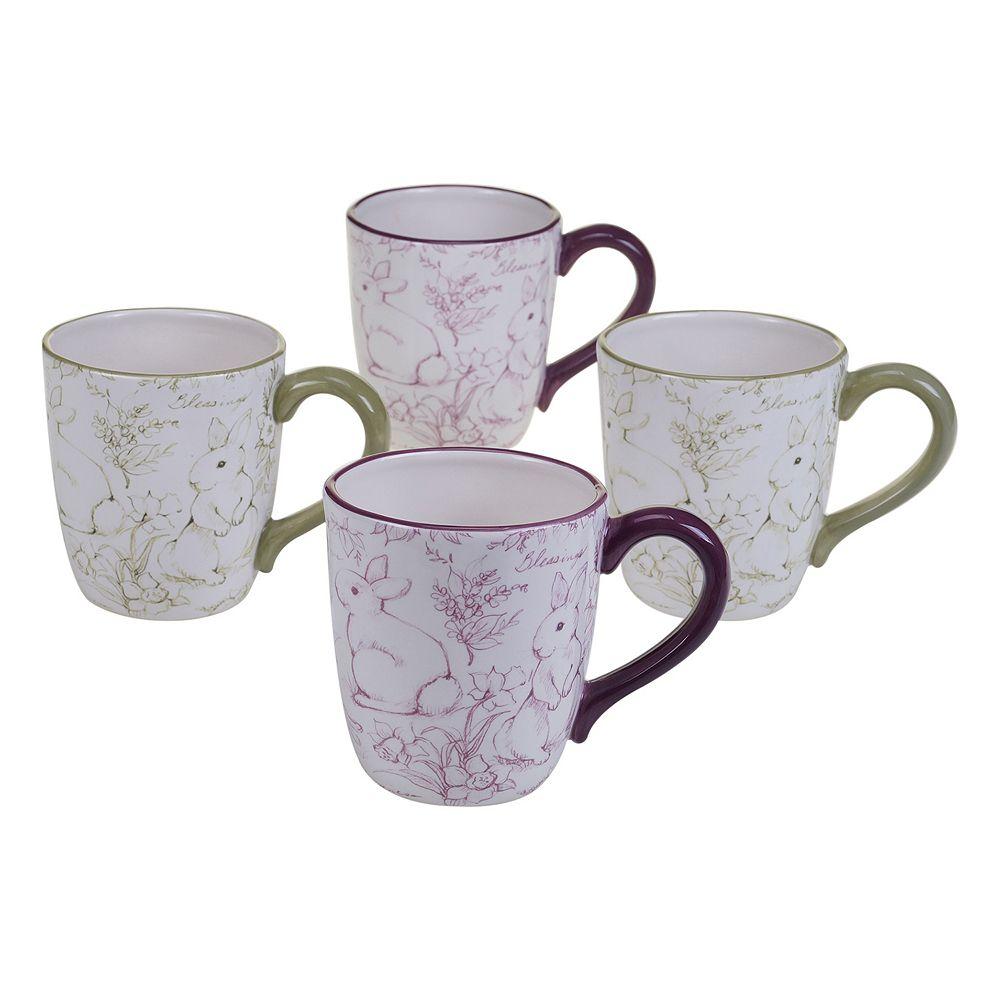 Certified International Bunny Patch 4-pc. Coffee Mug Set