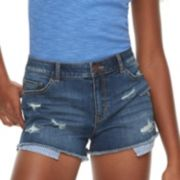 Juniors' Rewind High-Waisted Striped Exposed Pocket Denim Shortie Shorts