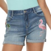 Juniors' Rewind High-Waisted Palm Tree & Flamingo Midi Denim Shorts