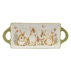Certified International Bunny Patch Serving Tray with Handles