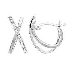 Diamond Mystique Sterling Silver Diamond Accent X-Hoop Earrings