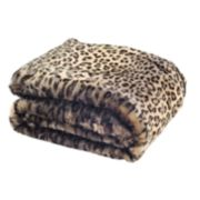 Safavieh Black Leopard Faux Fur Throw