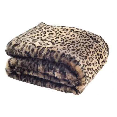 Safavieh Black Leopard Faux Fur Throw