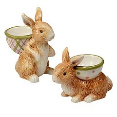 Certified International Bunny Patch 6 pc 3D Egg Cup Set