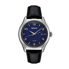 Seiko Men's Leather Solar Dress Watch - SNE491