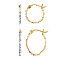 Diamond Mystique 18k Gold Over Silver Diamond Accent Round & Oval Hoop Earring Set