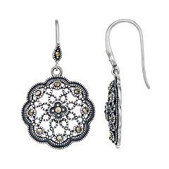 Tori Hill Sterling Silver Marcasite Filigree Drop Earrings