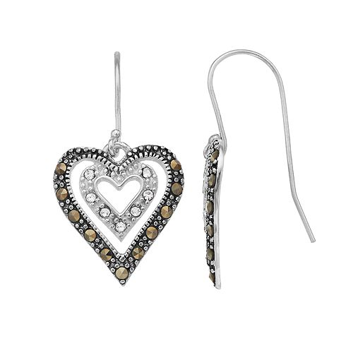 Tori Hill Sterling Silver Marcasite & Crystal Double Heart Drop Earrings