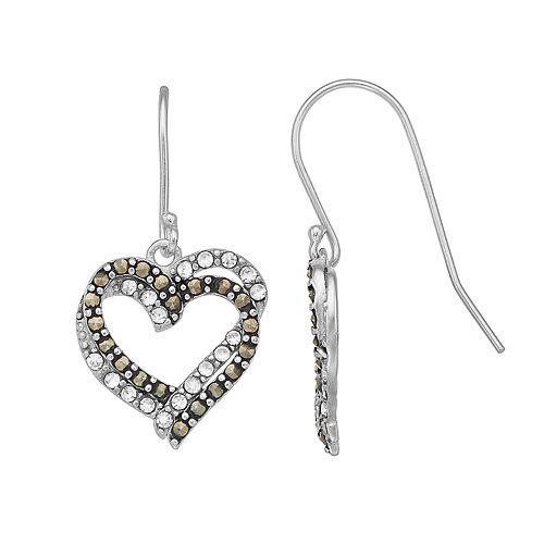 Tori Hill Sterling Silver Marcasite & Crystal Heart Drop Earrings